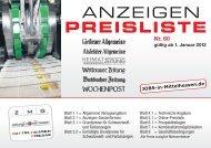 ANZEIGEN PREISLISTE - Gießener Allgemeine