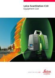 Leica ScanStation C10 Equipment List - Facility