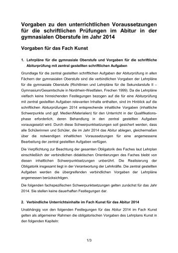 Vorgaben Abitur 2014 - Kunst - Standardsicherung NRW