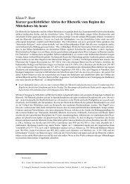 Kurzer geschichtlicher Abriss der Rhetorik vom Beginn des ...