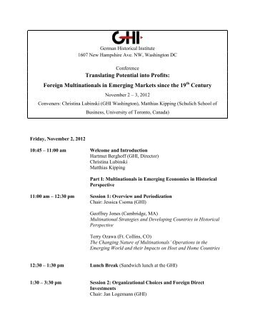 Program - German Historical Institute Washington DC