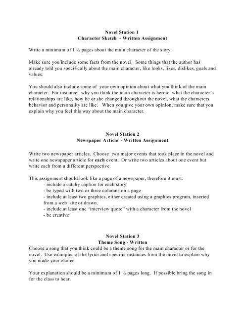 character sketch writing example