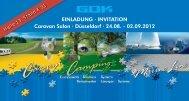 EINLADUNG · INVITATION Caravan Salon · Düsseldorf · 24.08. - GOK