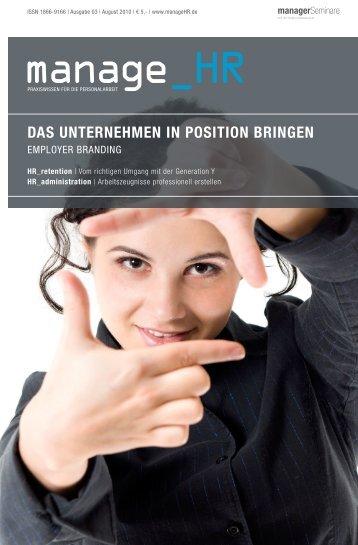DAS UNTERNEHMEN IN POSITION BRINGEN - Ihr Magazin als E ...