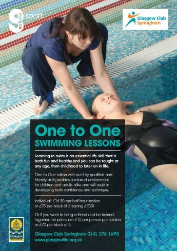 One to One SWIMMING LESSONS - Glasgow Life