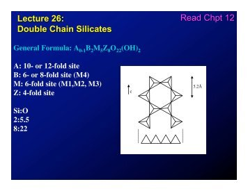 Lecture 26: Double Chain Silicates Read Chpt 12
