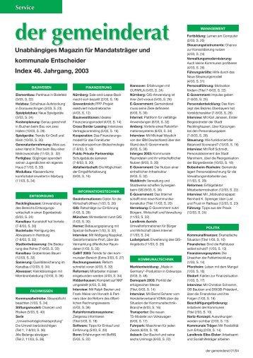 Index 46. Jahrgang, 2003 - Der Gemeinderat