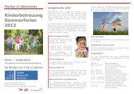 Kinderferienbetreuung: Sommerferien Betreuungszeiten