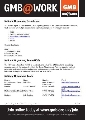National Organising Departmentx - GMB