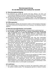 Benutzungsordnung für die Bibliothek des Instituts für Iranistik