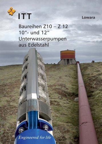 """Baureihen Z10 – Z 12 10""""- und 12"""" Unterwasserpumpen aus Edelstahl"""