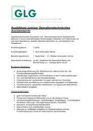 Ausbildung zum/zur Operationstechnischen Assistenten/in - GLG ...