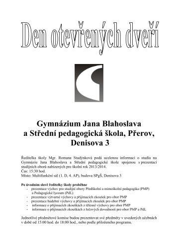 Budova SPgŠ, Denisova 3 - Gymnázium Jana Blahoslava a Střední ...