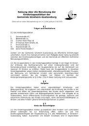 Satzung über die Benutzung der Kindertagesstätten der Gemeinde ...