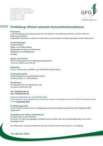 Fortbildung: Klinisch relevante Arzneimittelinteraktionen - GFG