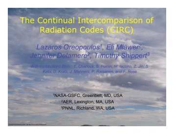 The Continual Intercomparison of Radiation Codes (CIRC) - GEWEX