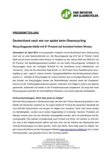 Deutschland nach wie vor spitze beim Glasrecycling - Aktionsforum ...