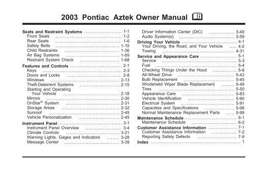 2003 pontiac aztek owner manual - gm canada  yumpu
