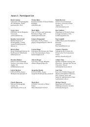 Annex I : Participant List - University of Arizona