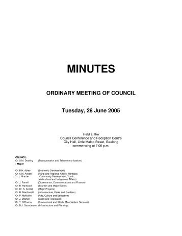 Council Minutes 28 June 2005 - City of Greater Geelong