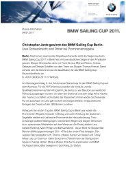 Pressemitteilung BMW Sailing Cup 2011 in Berlin. (PDF
