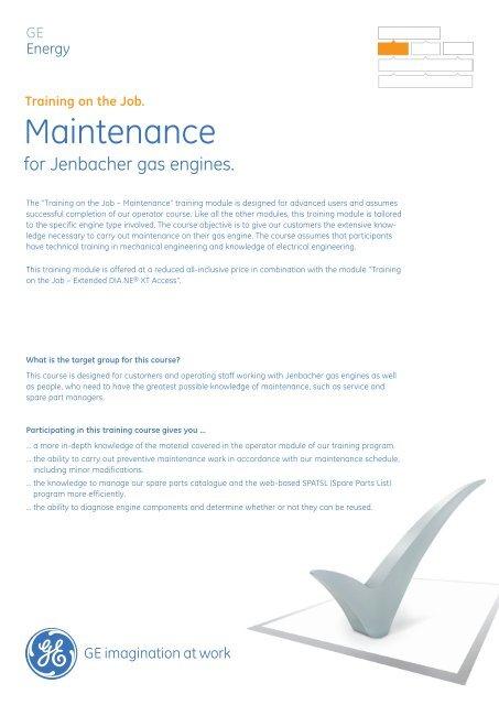 Jenbacher - Maintenance / PDF 618kb - GE Energy