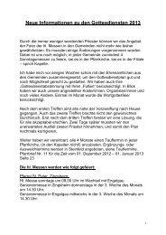 Neue Informationen zu den Gottesdiensten 2013 - Gdg-steinfeld.de