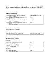 Lehrveranstaltungen Geowissenschaften SS 2209