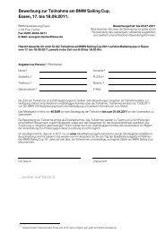 Bewerbung zur Teilnahme am BMW Sailing Cup. Essen, 17. bis ...