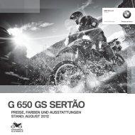 G 650 GS SERTÃO PREISE, FARBEN UND AUSSTATTUNGEN ...