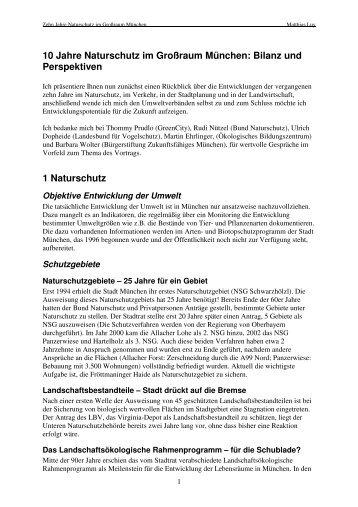 10 Jahre Naturschutz im Großraum München - Gregor Louisoder ...
