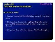 Lecture 24: Orthosilicates & Sorosilicates Read Chpt 10
