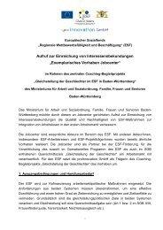 Aufruf - Gleichstellung der Geschlechter im ESF in BW