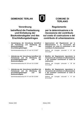 GEMEINDE TERLAN COMUNE DI TERLANO Verordnung ...
