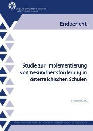LBIHPR Studie Implementierung schulische ... - Gesunde Schule