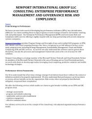 Newport International Group LLC Consulting: Enterprise Performance Management and Governance Risk and Compliance