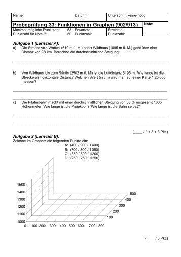 Probeprüfung 33: Funktionen in Graphen (902 ... - Gegenschatz.net
