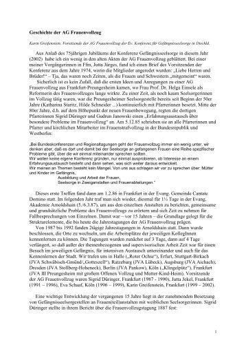 Geschichte der AG Frauenvollzug (1986 - 2002)