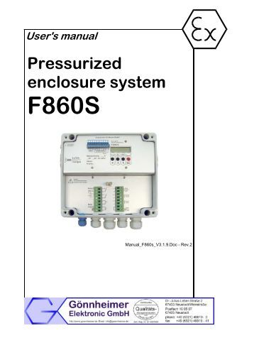 User's manual Pressurized enclosure system ... - Goennheimer.de