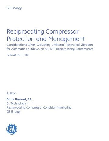 Reciprocating Compressor Protection and Management