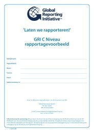 'Laten we rapporteren!' GRI C Niveau rapportagevoorbeeld - Global ...