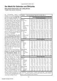 Der Markt für Getreide und Ölfrüchte