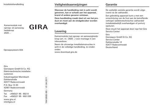 Kamermodule met oproep- en aanwezigheidsknop - Gira