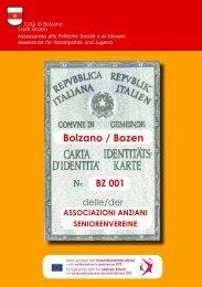 carta di identita' delle associazioni anziani - Comune di Bolzano