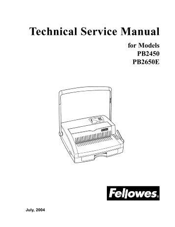 PB2450/2650E Technical Service Manual - Genius