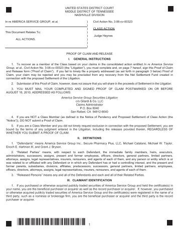 Proof Of Claim Form Clarent Settlement