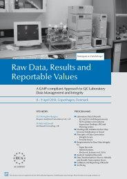 Raw Data, Results and Reportable Values - European Compliance ...