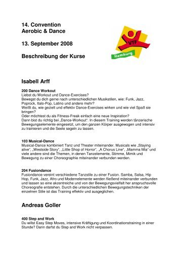 14. Convention Aerobic & Dance 13. September 2008 Beschreibung ...