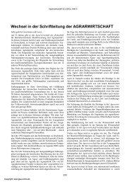 Wechsel in der Schriftleitung der AGRARWIRTSCHAFT