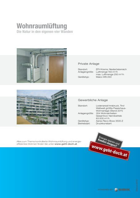 Wohnraumlüftung Broschüre - Siblik Elektrik GmbH & Co. KG